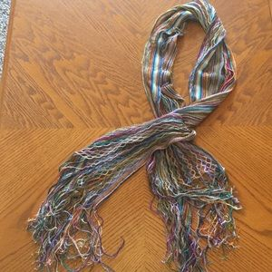 Rainbow knit scarf